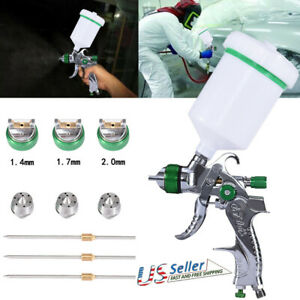 Hvlp Air Spray Gun W 3 Nozzle 1 4mm 1 7mm 2 0mm For Car Primer Surface Painting