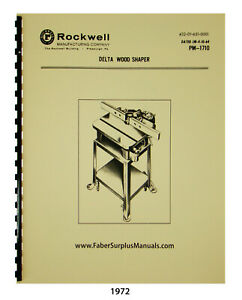 Delta Rockwell 43 140 Others Utility Wood Shaper Op Parts List Manual 1972