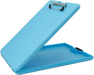 Saunders Sky Blue Slimmate Plastic Storage Clipboard With Low Profile Clip Clip