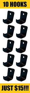 10 Lot Black Hook Style Wall Mount 10 Size Fire Extinguisher Bracket Universal
