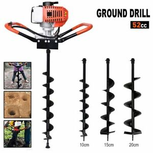 52cc Earth Auger 2 2hp Gas Powered One Man Post Hole Digger Machine 3 Bits