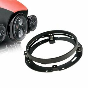 1x 7 Inch Round Black Led Headlight Mounting Bracket Ring For Motorcycle Bikes