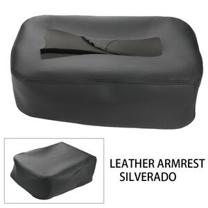Black Armrest Center Console Lid Cover Leather For 2007 2013 Silverado Sierra