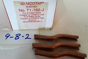 Lot Of 50 Nicotap T1 162 j Copper Sleeve For 6 Awg