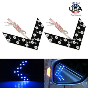 2x Blue 14 smd Led Arrow Panels For Car Side Mirror Turn Signal Indicator Lights
