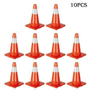 10pcs Traffic Cones 18 Slim Fluorescent Reflective Road Safety Parking Cones Us