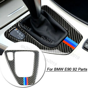 Carbon Fiber Gear Shift Knob Control Panel Decor Cover Trim For Bmw E90 92 Parts