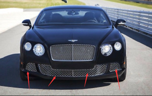 New Aftermarket Bentley Continental Gt Chrome Front Bumper Grill Set 4pcs