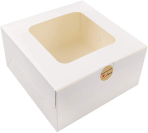 Moretoes 24pcs 10x10x5 Inches White Bakery Boxes With Window Cake Box