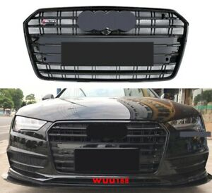 S7 Style For Audi A7 S7 2016 2018 Front Grill Upper Radiator Grille Glossy Black