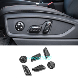 For Audi Q5 2018 2020 Carbon Fiber Look Inner Car Seat Handle Button Cover Trim