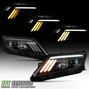 Black Smoke 2010 2012 Ford Fusion Led Sequential Signal Drl Projector Headlights