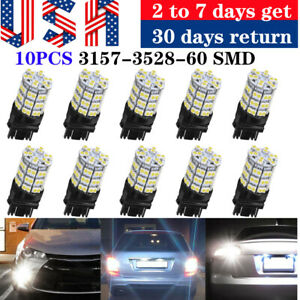 10pcs Pure White 3157 60smd Drl 3157a 4114 4157na Backup Reverse Led Light Bulbs