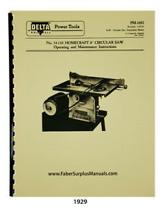 Delta Homecraft 34 110 34 111 8 Table Saw Instruction Parts List Manual 1929