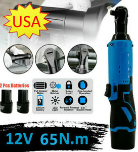 3 8 12v 90 Electric Cordless Right Ratchet Angle Wrench Tool 65nm 2 Battery