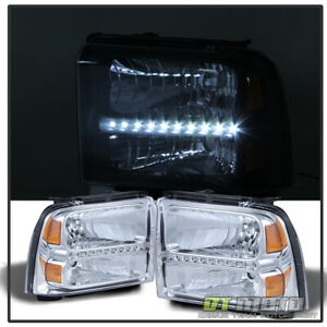 2005 2007 Ford F250 F350 F450 F550 Superduty Led Headlights Headlamps Pair 2006