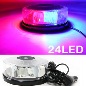 24 Led Strobe Lights Emergency Flashing Warning Beacon Red blue 12v 24v