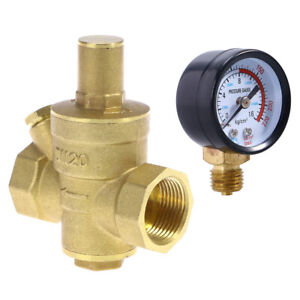 Brass Adjustable Water Pressure Reducing Regulator Valves With Gauge Meter