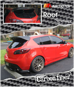 Ms Style Carbon Fiber Rear Roof Spoiler Wing Fits 10 13 Mazda 3 Mazda3 Hatch 5dr