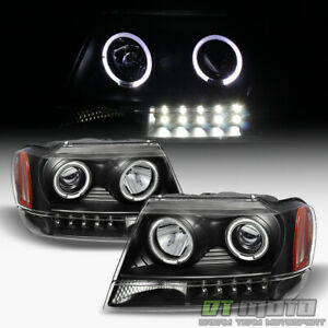 Blk 1999 2004 Jeep Grand Cherokee Led Halo Projector Headlights 99 04 Left right