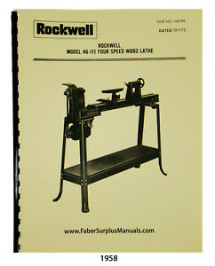 Rockwell 4 Speed 46 111 Others Wood Lathe Instructions And Parts Manual 1958