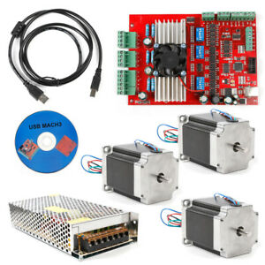 New Mach3 Cnc 3axis Kit Stepper Motor Controller 3pc Nema23 Stepper Motor57 Top