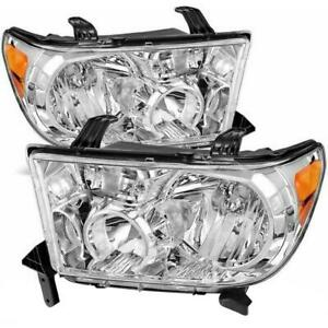 Fit For 2007 2013 Toyota Tundra 2008 2017 Sequoia Chrome Headlights Amber Pair