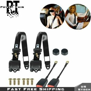 Pair Retractable 3 Point Auto Car Seat Belt Lap Universal Seatbelt Adjustable