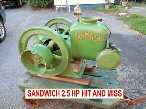 Sandwich Antique Hit And Miss Engine 2 5 Hp Runs Great