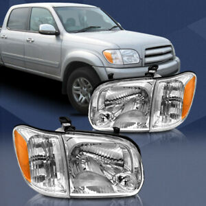 Fit For Toyota tundra 2005 2006 Chrome Headlights Assembly Clear Pair Headlamps