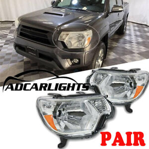 Fit For 12 15 Toyota Tacoma 2012 2013 2014 2015 Headlights Chrome Housing Pair