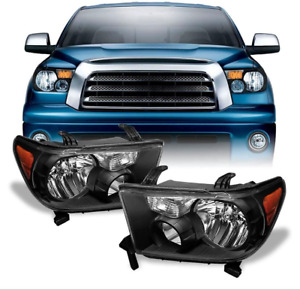 Fit For 2007 2013 Toyota Tundra 2008 2017 Sequoia Jdm Black Headlights Pair