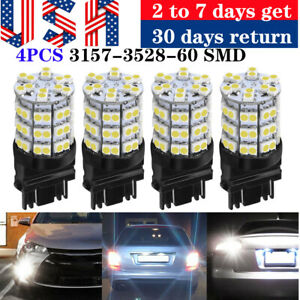 4 Pcs White 3157 3057 60 Smd Led Bulbs For Backup Reverse Tail Brake Parking