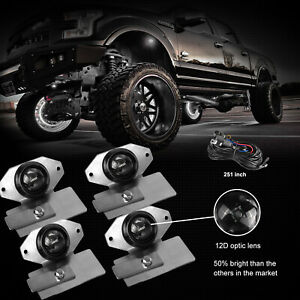 4 Pods White Courtesy Led Rock Lights Off Road W Wiring Stainless Steel Brackets