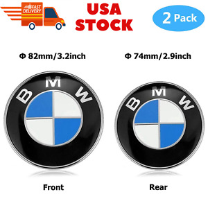 Bmw 2 Pieces High Quality Logo Front Hood And Rear Trunk Emblem Badge 82mm 74mm