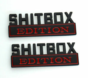 2pcs Shitbox Edition Emblem Decal Badge Stickers For Gmc Chevy Car Truck 3d