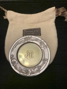 Tiffany Co Makers Sterling Silver Small Tray Mini Plate With Pouch Old Floral
