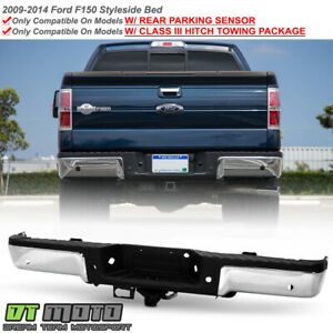 2009 2014 Ford F150 Pickup W Iii Hitch Sensor Hold Chrome Rear Bumper Assembly