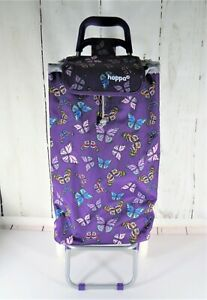 Hoppa Butterfly Shopping Trolley Bag Cart Grocery Dolly W Wheels Lightweight