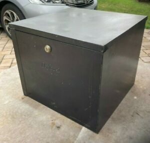 Rare Vintage Oxford Industrial Metal Hanging File Box Black Color No Key