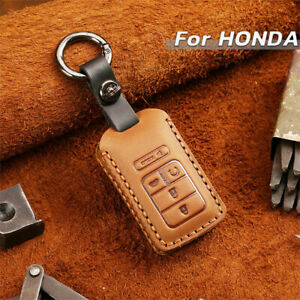 Real Leather Car Remote Key Fob Case Cover Bag For Honda Civic Accord Cr v Pilot