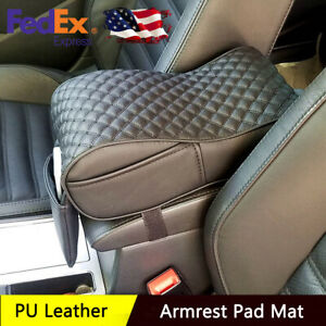 Car Suv Center Console Pad Pu Leather Armrest Seat Box Cover Protector Universal