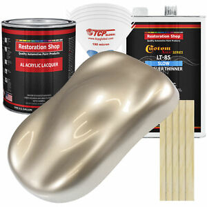 Cashmere Gold Metallic Acrylic Lacquer Gallon Auto Paint Kit Slow Thinner