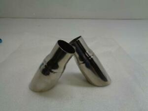 Slash Cut Stainless Steel Dual Wall Exhaust Tip Pair 2 25 Inch Inlet New R19