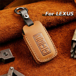 4 Buttons Real Leather Car Remote Key Fob Case Cover Chain For Lexus Accessories
