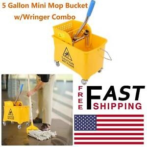 Mini 5 Gallon Mop Bucket W wringer Combo Commercial Rolling Cleaning Cart Yellow