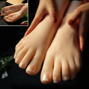 Tpe Realistic Silicone Female Mannequin Feet Model Shoes Displays 1pair