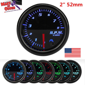 Universal 2 Inch 52mm Tachometer Tach 8k Rpm Gauge Digital 7 Color Led Display