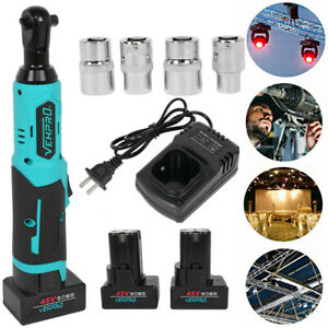 Cordless Electric 3 8 Ratchet Wrench 45v Power Ratchet Tool W 2 Battery Charger