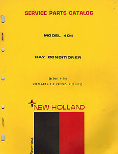 New Holland 404 Hay Conditioner Parts Manual